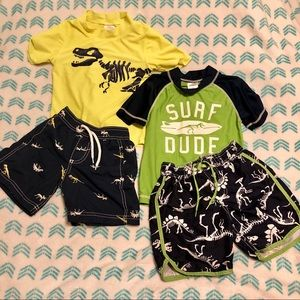 3T Carter's Dinosaur Swim Trunk and Rashguard Sets